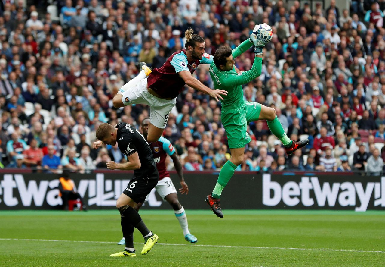 Wedstrijd in de Premier League tussen West Ham United en Swansea City, op 30 september 2017. West Ham won met 1-0 door een goal in de 90ste minuut.