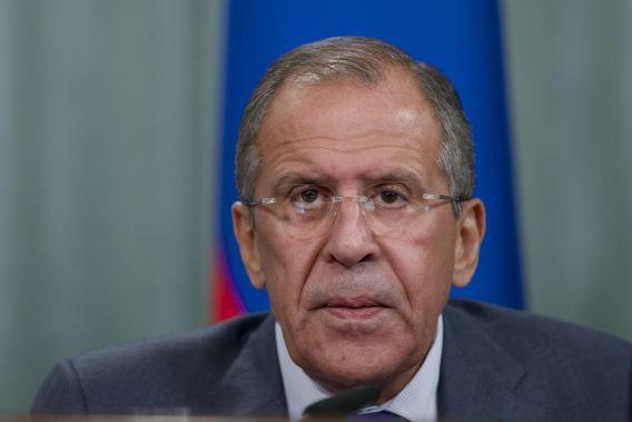 De Russische minister van Buitenlandse Zaken Sergei Lavrov vanmiddag tijdens zijn persconferentie.