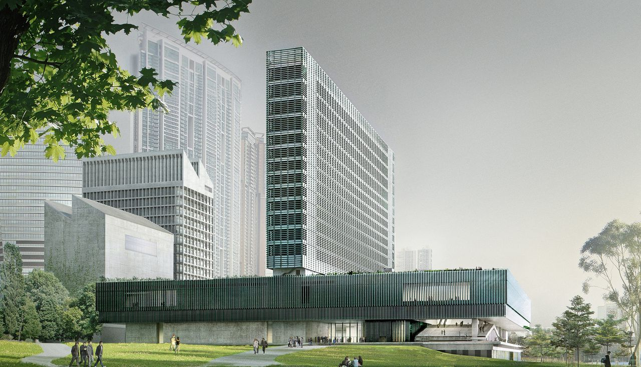 Artist's impression van het M+ Museum in Kowloon, Hong Kong.