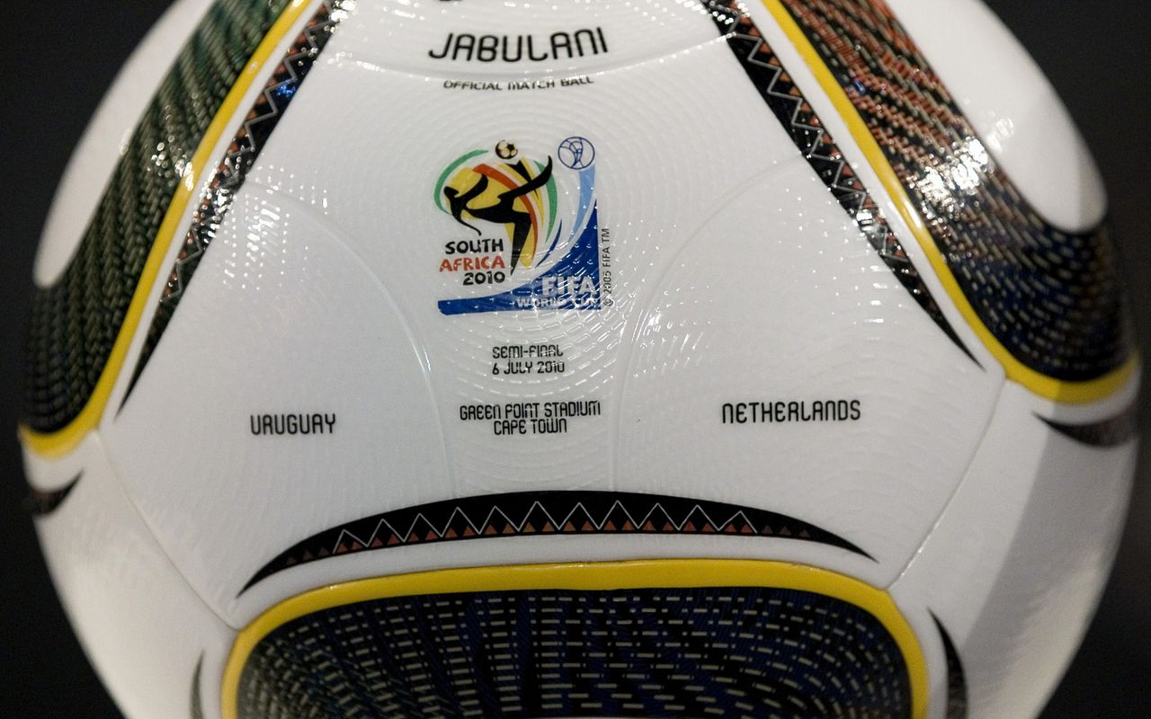 Jabulani, the official ball of the 2010 soccer World Cup semifinal match between Uruguay and Netherlands is displayed before a press conference in Johannesburg, South Africa, Monday, July 5, 2010. (AP Photo/Bernat Armangue)