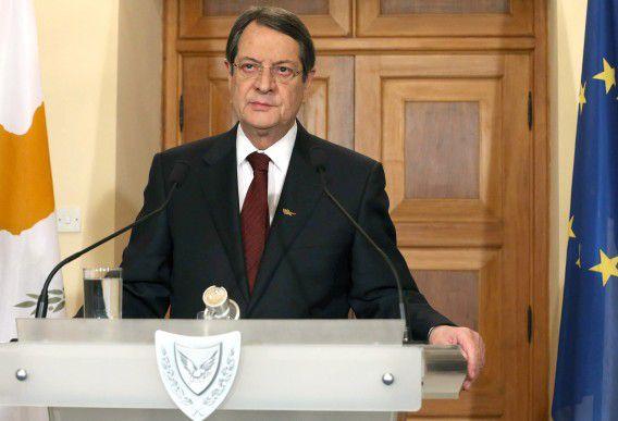 President Nicos Anastasiades geeft in een tv-toespraak een toelichting op het reddingsplan. Foto AFP