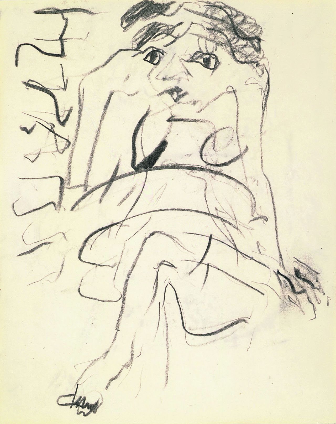 Detail van één van de tekeningen van Willem de Kooning uit de serie Drawings with Eyes Closed.