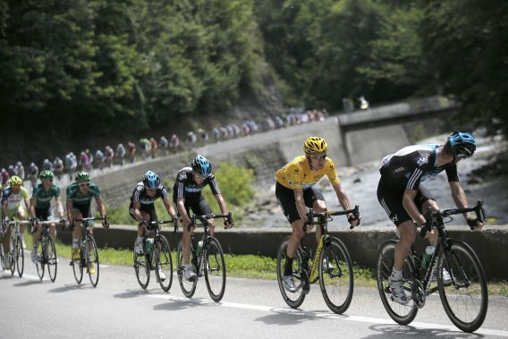during the 12th stage of the Tour de France cycling race over 226 kilometers (140.5 miles) with start in Saint-Jean-de-Maurienne and finish in Annonay, France, Friday July 13, 2012. (AP Photo/Christophe Ena)