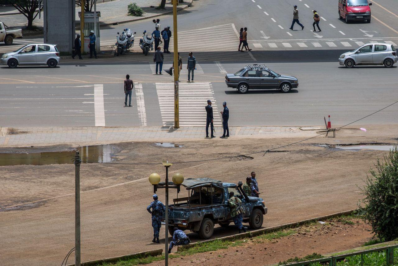 Veiligheidstroepen afgelopen zondag in de Ethiopische hoofdstad Addis Abada.