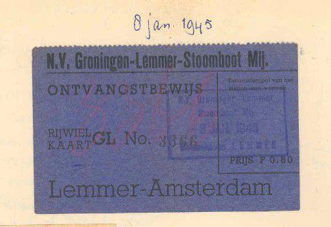 Bagageontvangstbewijs voor overtocht met de Lemmerboot voor de ramptocht op 8 januari 1945
