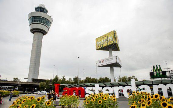 Zonnebloemen bij de verkeerstoren van Schiphol.