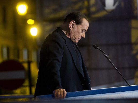 Silvio Berlusconi vandaag tijdens zijn toespraak.