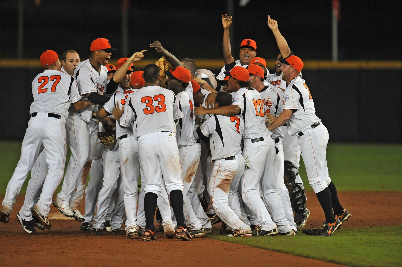 Members of the Netherlands baseball team celebrate their victory over Cuba in the Baseball World Cup final in Panama City on October 16, 2011. The Netherlands won 2-1. AFP PHOTO / Rodrigo ARANGUA
