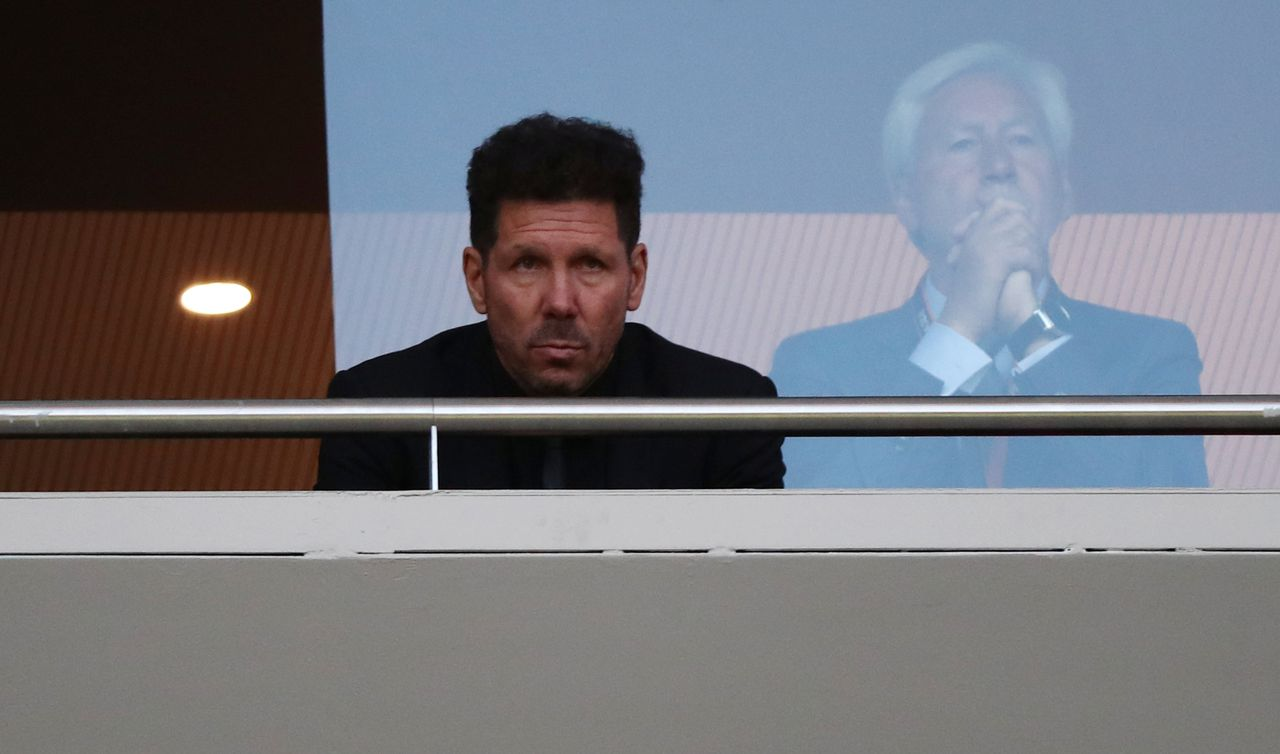 Simeone tijdens de return in Madrid.