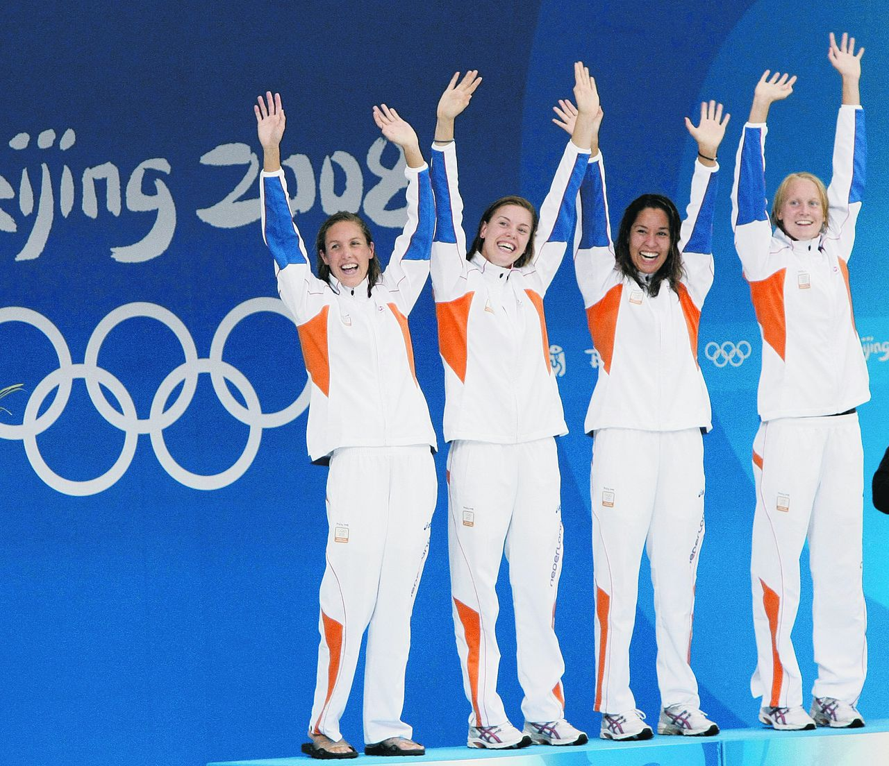 Netherlands' .... celebrate during the medal ceremony for the women's 4x100-meter freestyle relay final during the swimming competitions in the National Aquatics Center at the Beijing 2008 Olympics in Beijing, Sunday, Aug. 10, 2008. (AP Photo/Itsuo Inouye)