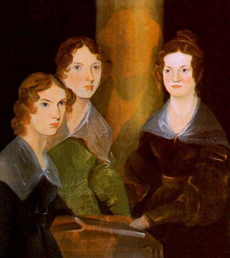 Portret door Patrick Branwell van zijn drie zussen. Zijn eigen beeltenis heeft hij uitgeveegd voor de compositie.