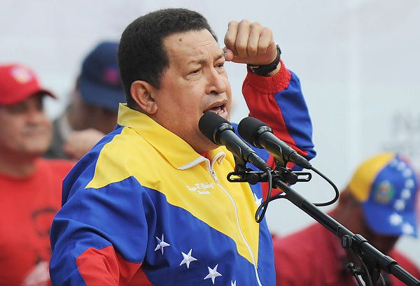 Venezuelan President Hugo Chavez delivers a speech in Caracas on February 27, 2011. Chavez on Friday called for peace in Libya and expressed support for the government of Moamer Kadhafi, who is faced with a rebellion that seeks to overthrow him, but stressed that he does not necessarily shares all decisions of the Libyan leader. AFP PHOTO/Juan BARRETO